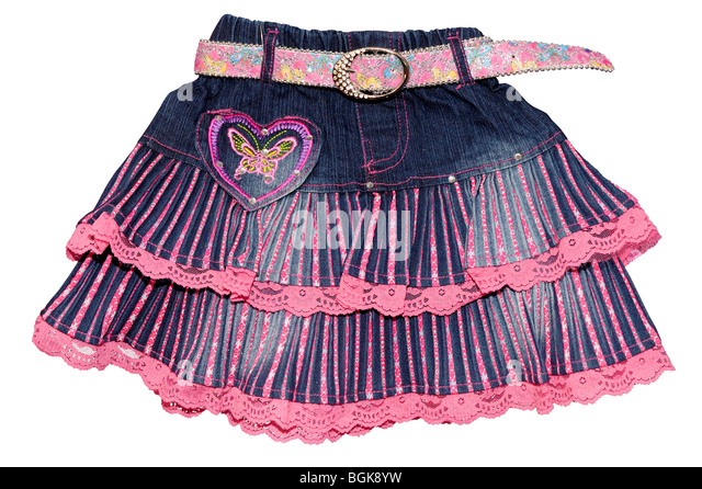 Children's clothing blue girl jeans mini skirt with pink belt and pattern isolated on white background - Stock Image