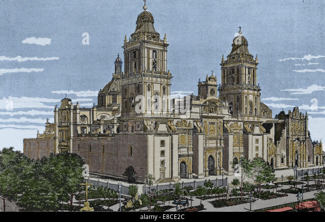 Mexico. Mexico city. Cathedral Assumption Mary. Catholicism church. Engraving. Color - Stock Image