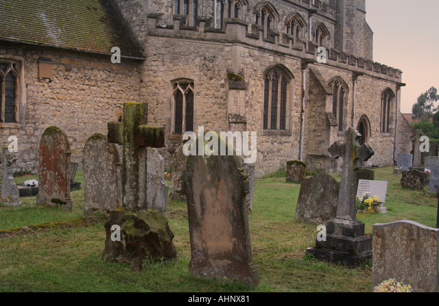 Grave yard and Church - Stock Image