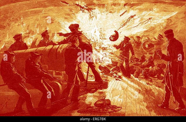 Explosion of a gun on the USS Carondelet during the Battle of Fort Donelson in February 1862. American Civil War. - Stock Image