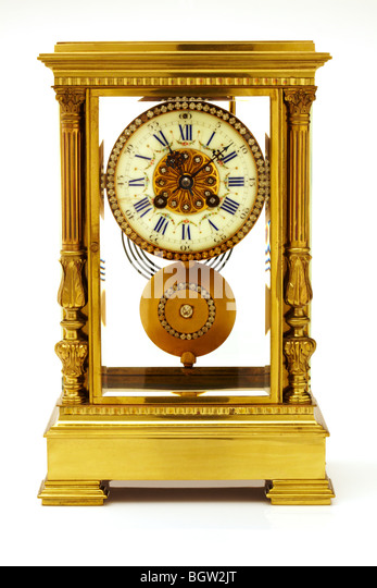 Antique French Brass Carriage Clock - Stock Image
