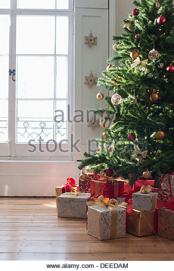 Christmas gifts beneath tree near window - Stock Image