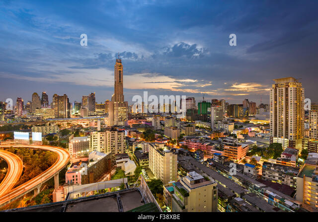 Bangkok, Thailand, city skyline. - Stock Image