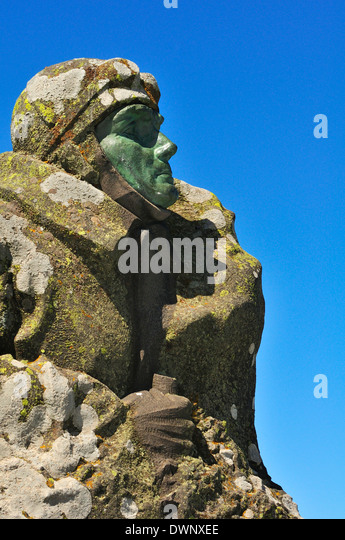 Monument to the aviation pioneer Eugène Renaux on the summit of the Puy de Dôme volcano, Puy-de-Dôme, - Stock Image