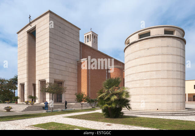Church with tower, 1935, monumental architecture, Sabaudia, Lazio, Italy - Stock Image