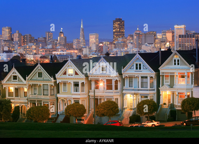 Victorian homes at Alamo Square in San Francisco, the so called 'Painted Ladies' - Stock Image