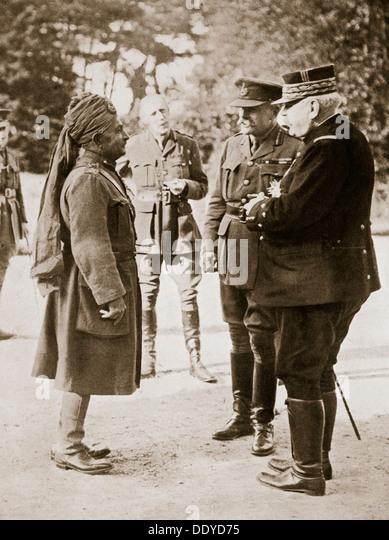 General Sir Douglas Haig introducing General Joffre to Lieutenant-General Sir Pertab Singh, 1916. - Stock Image