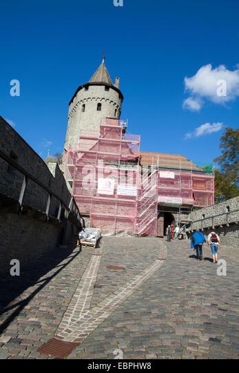Altena Castle, Altena, Lennetal, Maerkischer Kreis, Sauerland, North Rhine-Westphalia, Germany, Europe, Burg Altena, - Stock-Bilder