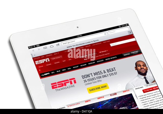 The ESPN sports website viewed on an iPad 4 - Stock Image