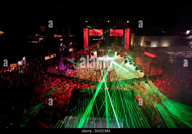 Laser show, techno rave Nature One 2012 on the former U.S. rocket base in Pydna in the Hunsrueck, Kastellaun - Stock Image