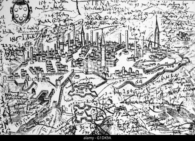 Illustrated map of Siena Medici. - Stock Image