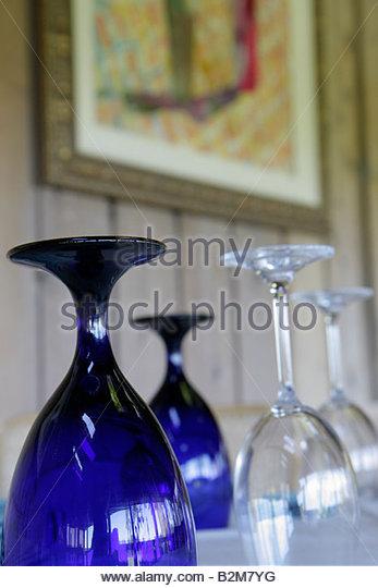 Michigan Buchanan Tabor Hill Winery and Restaurant wine glasses cobalt blue - Stock Image