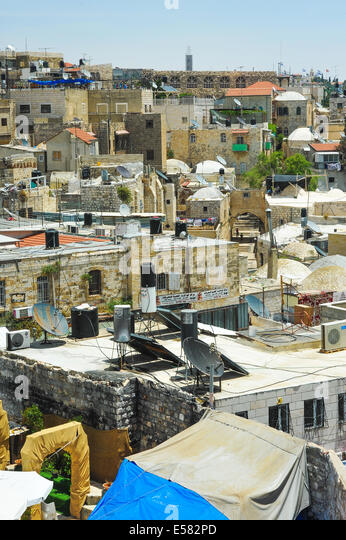 A view of the Muslim quarter from atop the old city wall in Jerusalem, Israel - Stock Image