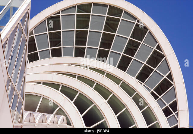 Orlando Florida Orange County Convention Center centre arches windows modern architecture glass event facility design - Stock Image