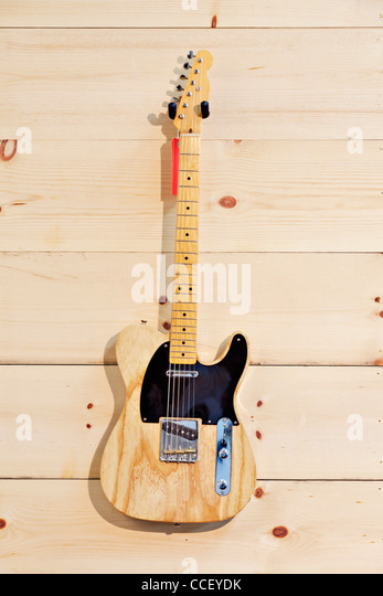 Fender birch guitar with red label - Stock Image