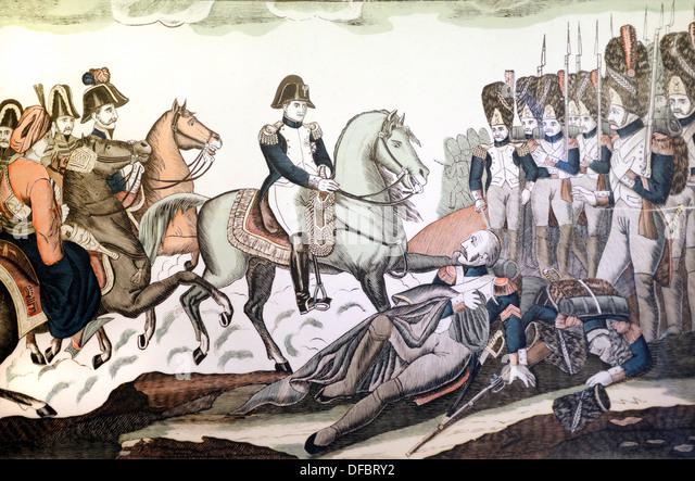 Napoleon or Napoleon Bonaparte on Horseback at the Battle of Austerlitz (c19th Engraving) - Stock Image