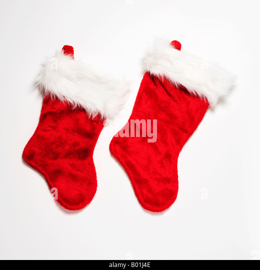 red Christmas stockings - Stock Image