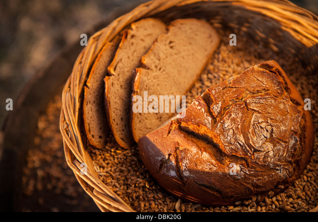 Loaf Of Bread And Maize In Basket, Croatia, Slavonia, Europe - Stock Image