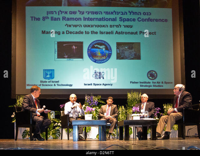 A panel with Sean O'Keefe, former Administrator of NASA (R), Aby Har-Even, former director of Israel Space Agency - Stock Image