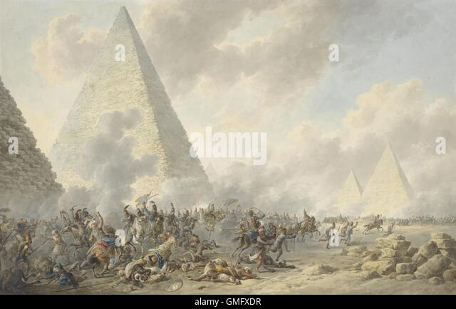 Battle of the Pyramids, Dirk Langendijk, 1803, Dutch watercolor painting. In 1798, Napoleon?s French army defeated - Stock-Bilder