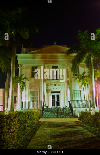 Historic Everglades City Hall at night Everglades City Florida historic building architecture - Stock Image