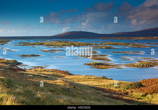 Tranquil lake scene, Lochboisdale, South Uist, Outer Hebrides - Stock Image