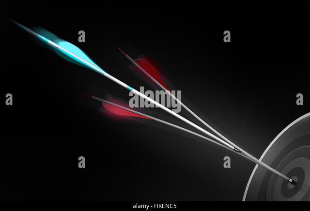 3D illustration of arrow splitting another one in the center of a target, Business performance or Marketing strategy - Stock Image