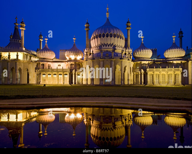 Royal Pavilion at twilight, Brighton, East Sussex, England - Stock Image