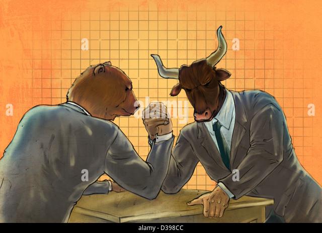 Anthropomorphic bear and bull arm wrestling representing the concept of Bear vs. Bull market - Stock Image