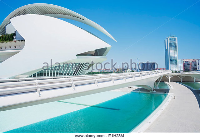Walkway at City of Arts and Sciences, Valencia, Spain - Stock Image