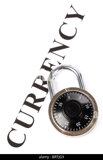 headline currency and lock, concept of financial protection - Stock Image
