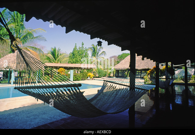 Costa Rica Bungalow hammock pool  - Stock Image