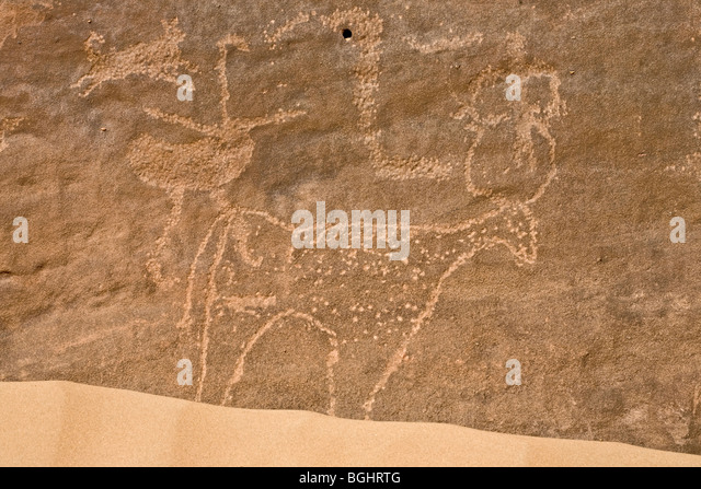 Close up of  animals at Winklers famous Rock-Art site 26 in Wadi Abu Wasil in the Eastern Desert of Egypt - Stock Image