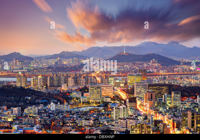 Downtown Seoul, South Korea, USA. - Stock Image