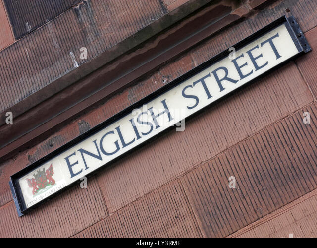Streets in Carlisle named English or Scottish, Cumbria, England, UK - Border Country - Stock Image