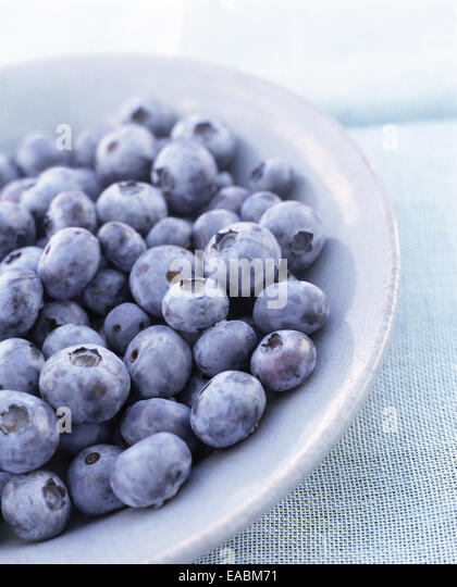 Bowl of Blueberries - Stock Image