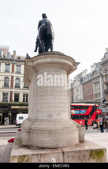 Statue of Marshal Ferdinand Foch, Allied General of WWI, at Victoria, London - Stock Image