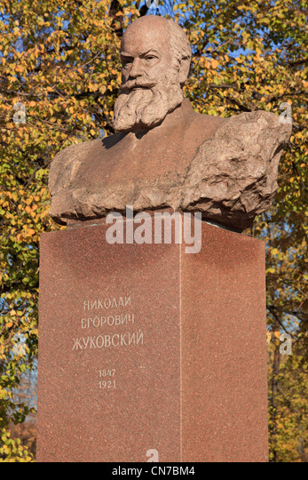 Statue of the Soviet Russian aerodynamics scientist Nikolay Yegorovich Zhukovsky (1847-1921) in Moscow, Russia - Stock Image