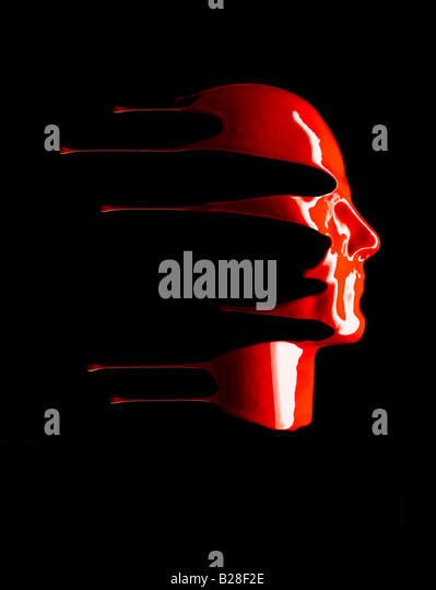 A red liquid face - Stock-Bilder