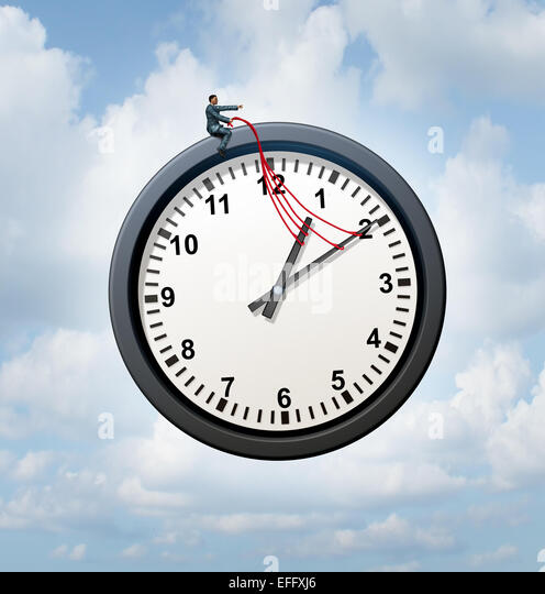 Control your time concept and taking charge of your business schedule symbol as a businessman providing guidance - Stock-Bilder