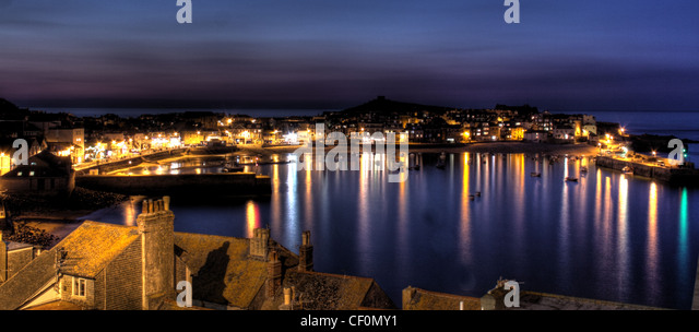 Dusk over St Ives Bay, South Cornwall, England, UK - Stock Image