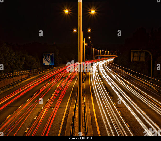 Light trails on motorway - Stock Image
