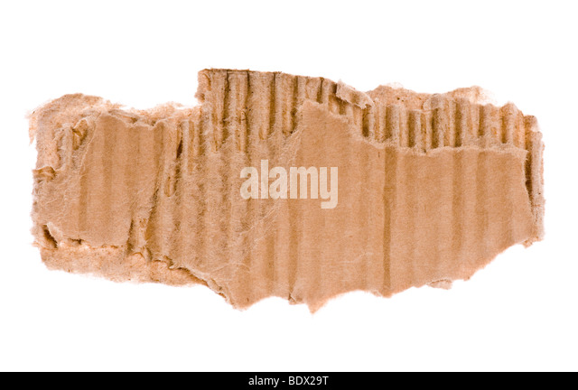 torn piece of corrugated cardboard isolated on a white background - Stock Image
