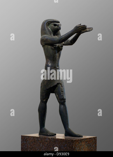 Statue of the god Horus 1069-664 BC Ancient Egypt Louvre Museum Paris - Stock Image