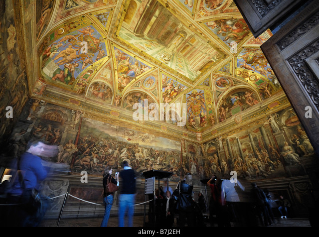Raphael Rooms room of Constantine Sala di Costantino Vatican Museums Vatican City Rome Italy Europe - Stock Image