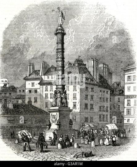 Paris, France - Place du Chatelet.     Date: 1837 - Stock Image