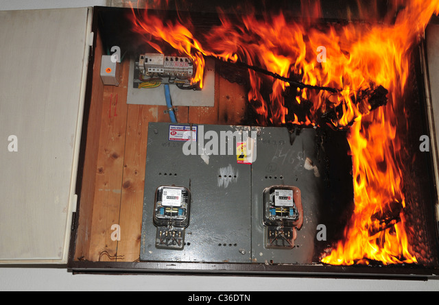 Fuse Box Explosion : Accidents consumed stock photos