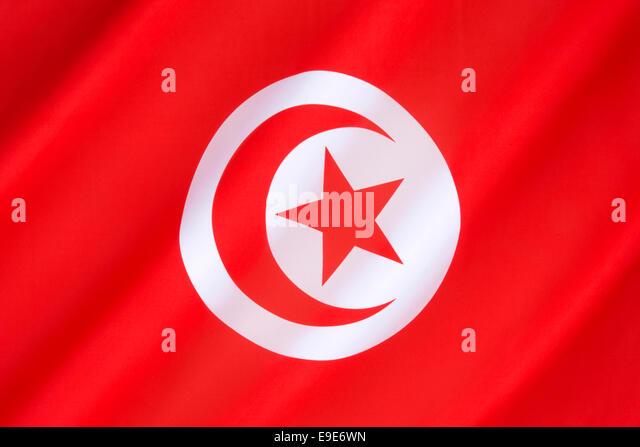 Flag of Tunisia - Stock Image