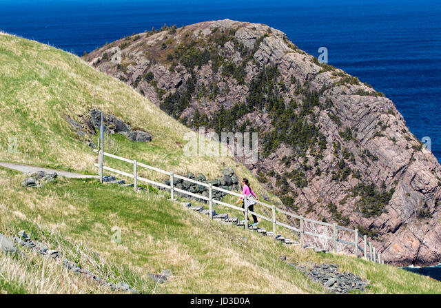 Hiking Trails at Signal Hill- St. John's, Avalon Peninsula, Newfoundland, Canada - Stock Image