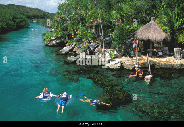 Mexico snorkeling Xel-Ha Lagoon tourist attraction near playa del carmen and cancun on Xel-Ha Lagoon - Stock Image